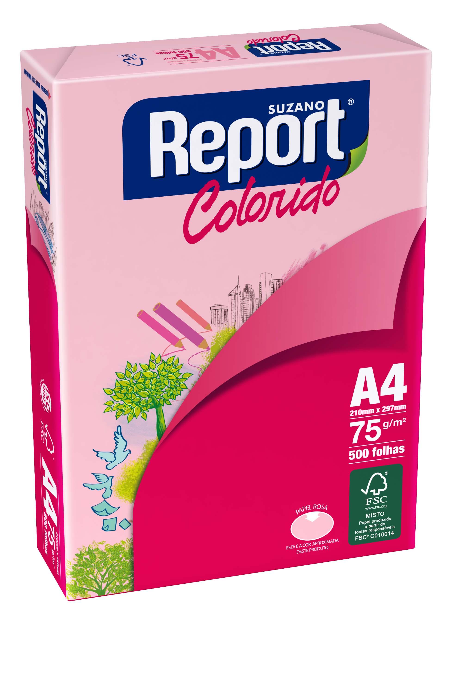 PAPEL REPORT COLORS ROSADO A4 75 GRS 100 HJS