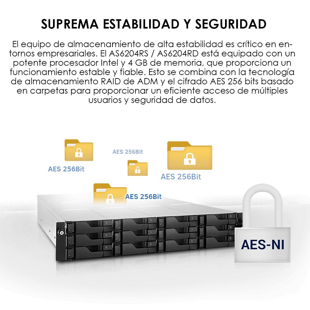 NAS ASUSTOR AS6204RS 4BAY HS/INTEL DC/4GB RAM/4X 1GBE